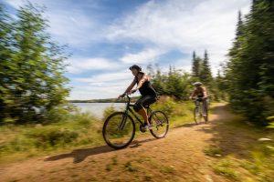 Two cyclists near Falcon Lake